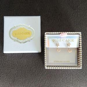 Gold Cake🎂 Star⭐ and Moon🌙 Ear Jacket Earrings